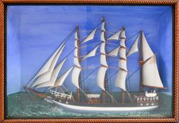 Contemporary Carved and Painted Ship's Diorama of the Camille