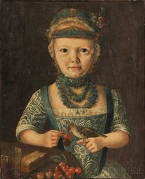 German School, 18th/19th Century      Interior Half-length Portrait of a Young Girl Feeding Cherries to a Bird