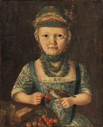 German School, 18th/19th Century      Interior Half-length Portrait of a Young Girl Feeding Cherries to a Bird
