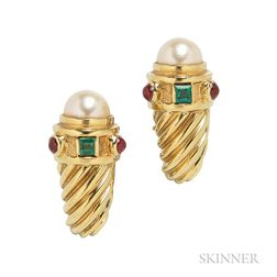 18kt Gold, Cultured Pearl, and Gem-set Earrings, David Yurman
