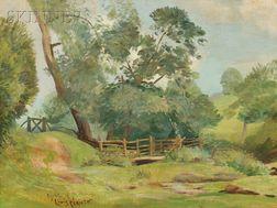 Attributed to Lovis Corinth (German, 1858-1925)      Verdant Landscape with Split Rail Fence