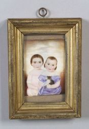 Possibly the Work of Mrs. Moses B. Russell (American, 1809-54)  Two Little Girls with a Kitten.