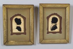Pair of Hollowcut and Painted Silhouette Portraits