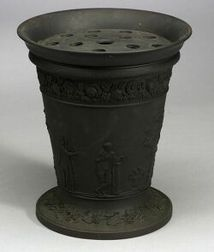 Large Wedgwood Black Basalt Potpourri Vase and Cover
