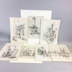 Vernon Howe Bailey (American, 1874-1953)  Five City Scene Pen Drawings:  Statue of Gen. Sherman, Central...