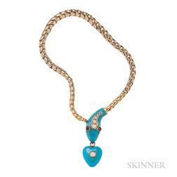 Antique Gold and Enamel Snake Bracelet