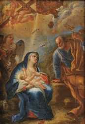 Hendrik van Balen the Elder (Belgian, 1575-1632)      Madonna and Child with Joseph