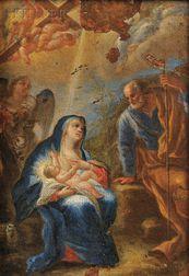 Hendrik van Balen the Elder (Belgian, 1575-1632)      Madonna and Child with Joseph