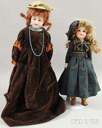 Two German Bisque Shoulder Head Dolls