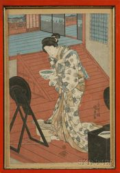 Kunisada:  Courtesan at Her Toilette