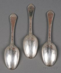 Three William III/Queen Anne Silver Dog-nose Spoons