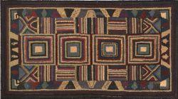 Wool Geometric Hooked Rug
