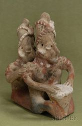 Pre-Columbian Painted Pottery Couple