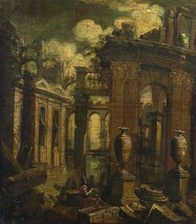 Venetian School, 18th Century    Figure Seated Among Ruins