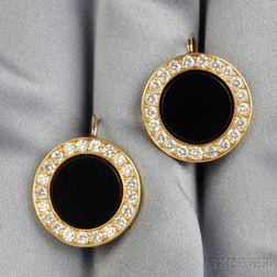 18kt Gold, Onyx, and Diamond Earpendants