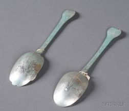 Near Pair of Early Silver Trefid Spoons