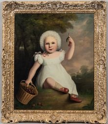 American School, Early 19th Century      Portrait of a Child in White with Basket of Cherries and Landscape Beyond