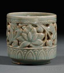 Celadon Reticulated Brush Pot