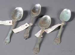 Four Early English Silver Trefid Spoons