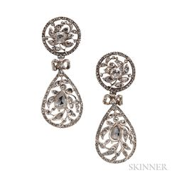 Silver and Rose-cut Diamond Earrings
