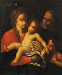 Italian School, 16th Century Style      Holy Family with Saint John the Baptist
