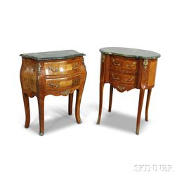 Two Louis XV-style Ormolu-mounted Marble-top Commodes