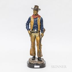 John Wayne Polychrome Bronze Sculpture After Jesse Corsault