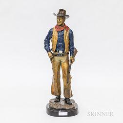 John Wayne Polychrome Bronze Sculpture After Jesse Corsault