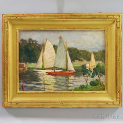 American School, 20th Century      Sailboats.