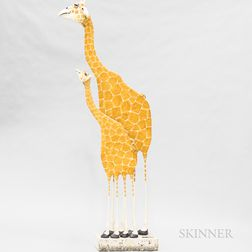 Todd Warner (American, b. 1945) Ceramic Giraffe Mother and Calf