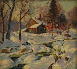 Thomas R. Curtin (American, 1899-1977)      Sugar Shack in Winter
