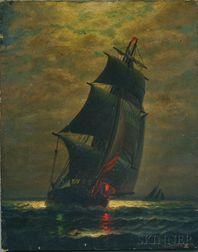 James Gale Tyler (American, 1855-1931)      Moonlit Sail.