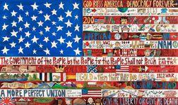 Sarah Grant (American, 20th/21st Century) Contemporary Folk Art Painted Wood Flag
