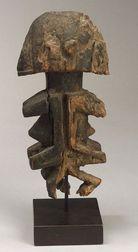 African Carved Wood Janus Figure