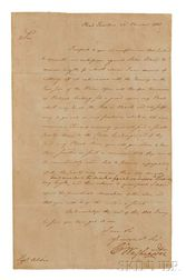 Washington, George (1732-1799) Letter Signed, Headquarters, Passaic Falls, New Jersey, 23 November 1780.