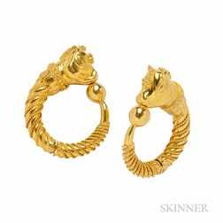 18kt Gold Hoop Earclips, Lalaounis