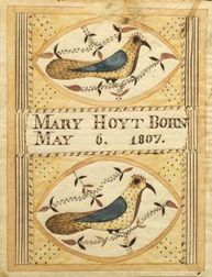 """Moses Connor, Jr. (American, active 1800-1832)  Birth Record of """"Mary Hoyt Born May 6, 1807,"""""""