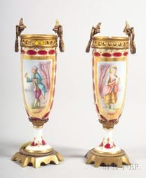 Pair of Sevres-style Porcelain and Ormolu Mounted Bud Vases