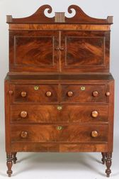 Late Federal Mahogany Veneer Secretary.