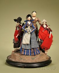 Early Wooden Dolls in an Early Victorian Domed Vignette