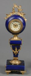 Louis XVI-style Cobalt Glazed Faience and Ormolu Mounted Timepiece