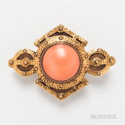 Voss and Rich Arts and Crafts 14kt Gold and Coral Brooch