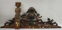 Renaissance-style Carved Walnut Figural Cornice and a European Carved and Painted   Wood Figural Architectural Fragment