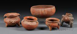 Five Central American Pre-Columbian Vessels