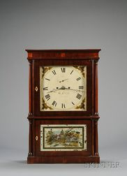 Mahogany Four Column Shelf Clock by Heman Clark