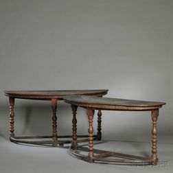 Pair of Italian Renaissance Demilune Walnut Console Tables