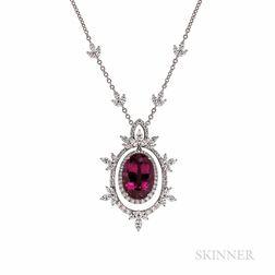 Rubellite and Diamond Pendant Necklace