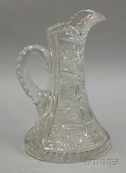 Colorless Brilliant Cut Glass Pitcher.