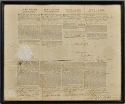 Adams, John (1735-1826) Four Language Ship's Passport, Signed, 12 January 1799, as President.