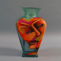 Richard Budman Glass Face Vase